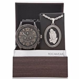 Rocawear  watch with pray hands necklace set